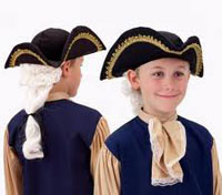 John Adams Colonial Hat with Wig for Kids